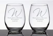 Set Of 2 Personalised Stemless Wine Glasses